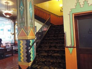 Art Deco design around the lobby staircase in the Hotel Congress