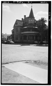 Historic black and white photo of the Rosson house