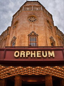 Front of the Orpheum Theatre, showing the browadway-style signage and ornate architechture.