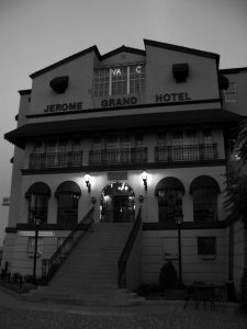 Black and white photo showing the entrance to the Jerome Grand Hotel