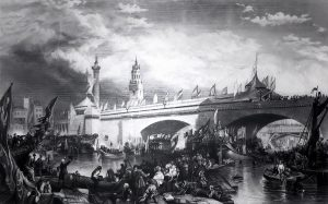 Drawing showing chaotic scene at the Old London Bridge in the 17th Centurye