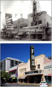 Rephotography of the Fox Tucson Theatre showing the theatre in its early days compared to today