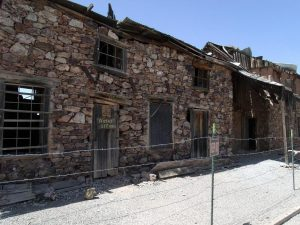 The brick facade of the Assay Building at Vulture Gold Mine.